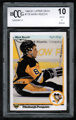1990-91 Upper Deck #178 Mark Recchi Rookie BCCG Beckett 10 (ref BG15)