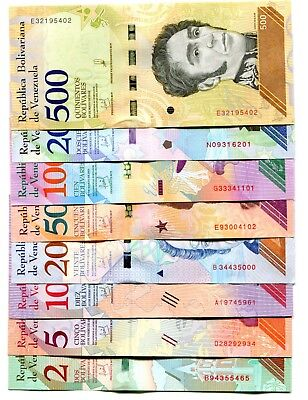 VENEZUELA 2 5 10 20 50 100 200 500 Bs SOBERANO JAN-MAY2018 UNC FULL SET OF 8