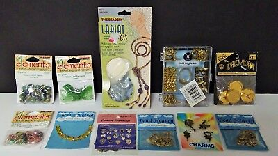 Lot of Jewelry Findings Beads Closures Charms Pendants 11 Packages ALL NIP/NOS