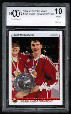 1990-91 Upper Deck #461 Scott Niedermayer Rookie BCCG Beckett 10 (ref BG18)