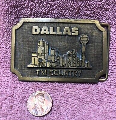 Rare Dallas TM Country Belt Buckle Solid Brass Buckle Unmarked