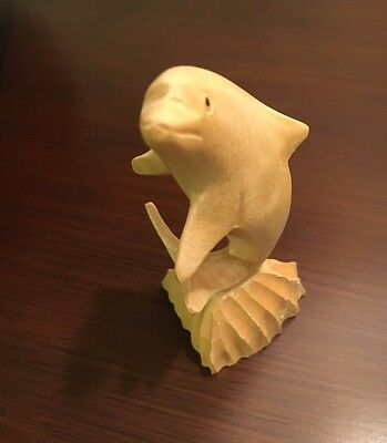 Dolphin Hand Carved Wood Figurine, Collectible Beach Nautical Decor Folk Art
