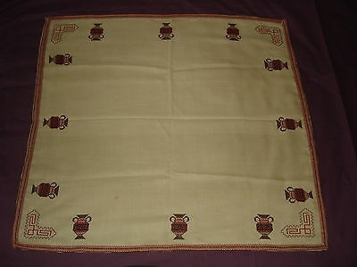#049  Beautiful Vintage Hand-Embroidered Tablecloth