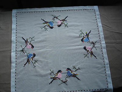 #663  Beautiful Vintage Hand Embroidered Tule Tablecloth 64cm/63cm(25''/25'')