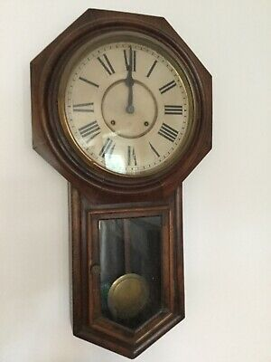 Antique Wall Clock American Ansonia Drop Dial