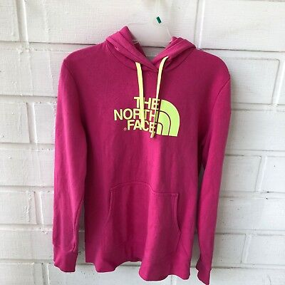 North face Pink Hooded Sweater Women size Large  In Excellent Condition