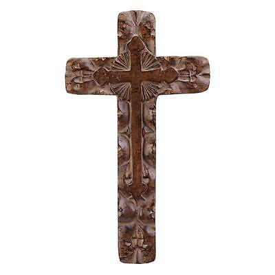 Rough Carve Wood Look Wall Cross Decor Hanging Religious Art Faith Hang Home NEW