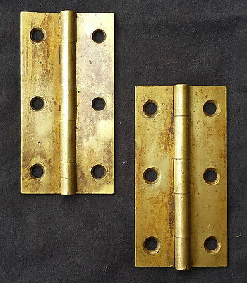 "Pair Antique 1.75""x3.5"" SOLID Cast Brass Knuckle Cabinet Furniture Door Hinges"