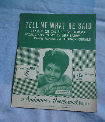 +Helen Shapiro Partition Musicale  Belge Tell Me What He Said Les Chats Sauvages