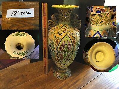 Huge MORIAGE SATSUMA Pottery 18'' VASE URN Pottery 19th c.  Painted Monumental