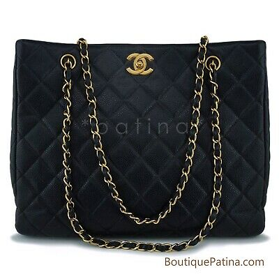 Chanel Black Caviar Timeless Classic Tote Bag 24k GHW 63368