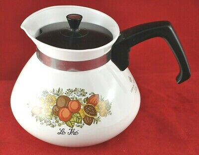Corning Ware Spice Life Range top 6 Cup Tea/Coffee Pot P-104 with Lid USA