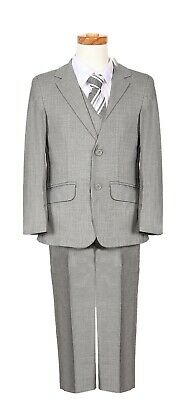 boys Silver Grey Chambray pattern formal suit executive special occasion wedding