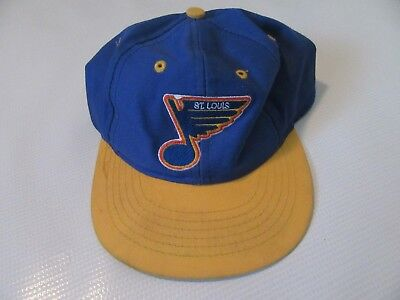 1ffb6bba596 Vintage Logo 7 St. Louis Blues Youth Snapback Hat Blue Yellow NHL 90s  Spellout