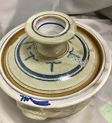 Artisan Longaberger Covered Tureen Casserole Tan Blue with Lid
