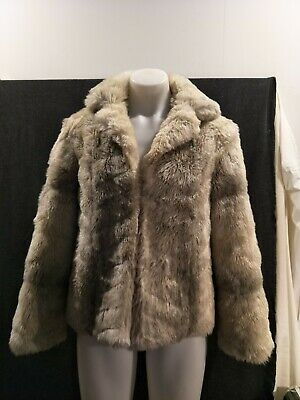 Faux Fur Vintage Jacket A Stanley Creation of Melbourne Grey and Cream Size 16