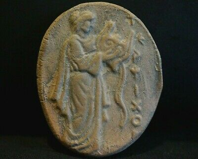 Ancient Greek Ceramic Slab. Clay Tile of Caliope playing Lyre, circa 350-250 Bc.