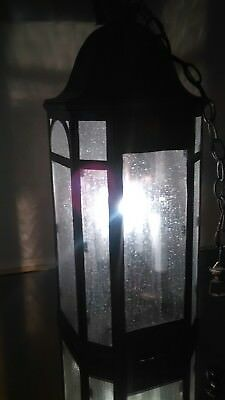 Vintage Octagon Gothic Entrance Chandelier Silver Soldiered Brass Bubble Glass