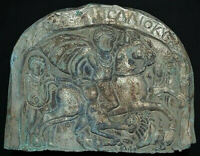 Ancient Greek Silver-gilded Bronze Repousse. Scene of Horseman & Beast, 150-50Bc