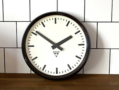 Bakelite old Pragotron wall clock - Factory School Railway - vintage industrial