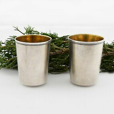 875 Russian Silver Antique Pair Of Jiggers/Shot Glasses