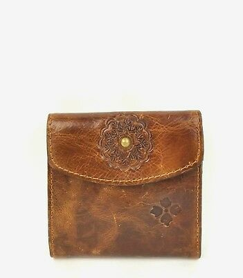 Patricia Nash Wallet Distressed Leather Reiti Envelope Clutch w Coin Case Cognac