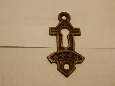 Antique Door Lock Key Hole Escutcheon Cast Iron Eastlake (KH 4)