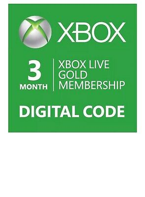 Microsoft Xbox Live Subscription 3 Month Gold  Digital Code  Usps & Email