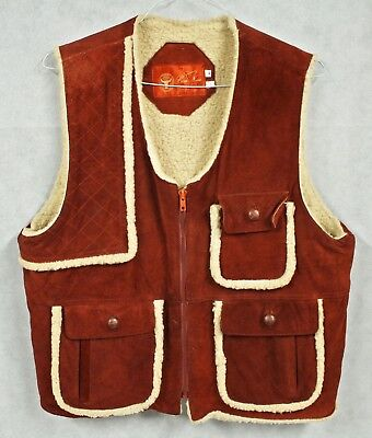 Vtg COSA NOVA Suede Leather Shearling Lined Vest 46 L Hunting Oxblood Red 70s