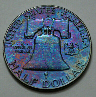 1963-D  Franklin Half Dollar  90% Silver Old US Coin, 50c. TONED, NO RESERVE !
