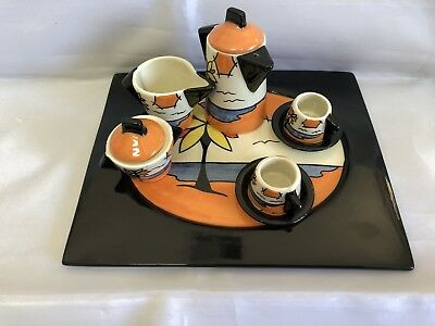 Well Known British Potter Lorna Bailey: Beach Mini Coffee Set In Mint Condition