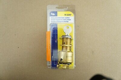 New Cole Hersee Co M-550BP Battery Ignition Switch Brass 2 Keys 3 Pos 10A 12V DC