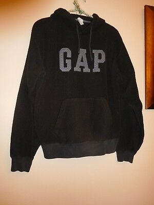 Gap Kids Girls Sz.Small Black w/Gray fleece soft hoodie pullover sweatshirt EUC