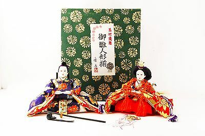 ANTIQUE MIDDLE EDO HINA DOLL NINGYO EMPEROR & EMPRESS Japanese Kimono w/Box