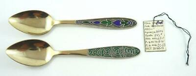 Pair of Vintage Russian Gilt Silver & Enamel Spoons with Original Sales Tag