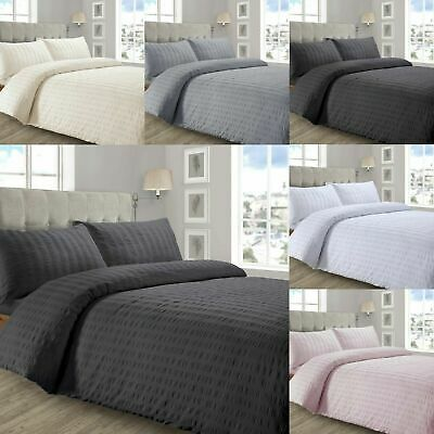 Luxurious Quality SEERSUCKER Design Duvet / Quilt Cover With Pillowcases Bedding