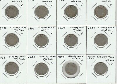 12 Liberty Head Variety 2 Nickel Five-Cent Pieces.