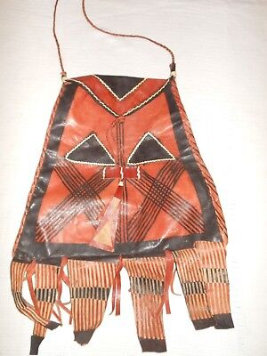 VINTAGE Aztec Tooled Tribal Leather Tribe Hand Made Bag African? Indian?
