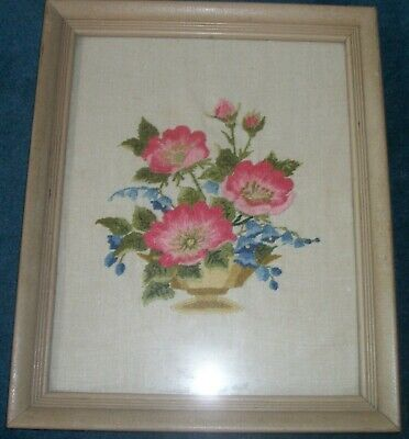 Vintage Crewel Embroidery Finished Framed Flower Picture Signed & Dated