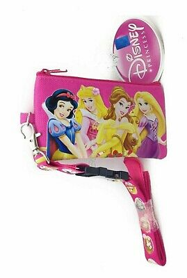 Pink Disney Princesses Lanyard Zipper Wallet Pouc Fast Pass ID Badge Holder :o