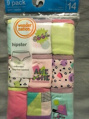 899ad49f6542 NEW Girls Wonder Nation 9 Pack 100% Cotton Hipster Panties Underwear Size 14