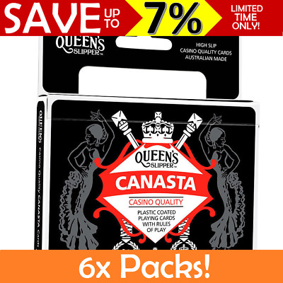 6x BULK Queen's Slipper Canasta Playing Cards Double Decks Casino Quality Guide
