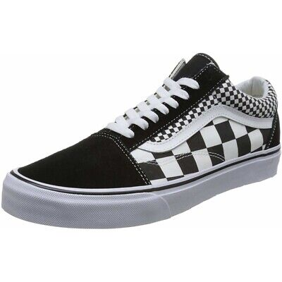 562edc4b382955 Vans UA Old Skool Black Mix Checker True White Textile Adult Trainers Shoes