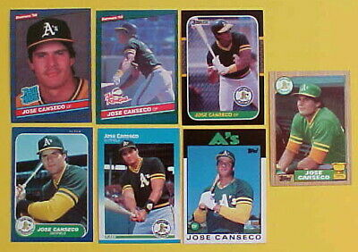 1986 1987 Jose Canseco Rookie Card Lot Of 7 Fleer Donruss Rookies Topps Traded