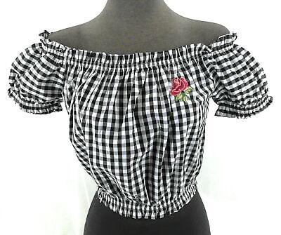 35a981d6807 Timing Juniors Crop Top Off The Shoulder Black White Checked Short Sleeve  Size L