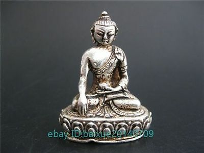 chinese old copper plating silver CARVED Tibet Buddha WONDERFUL STATUE a01