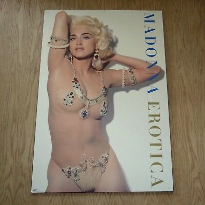 Large Vtg 1992 Madonna Erotica original promo music poster on board  39 x  27""