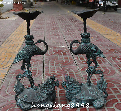 "18""Old China Bronze Dragon Turtle Crane Cranes Candle Holder Candlestick Pair"