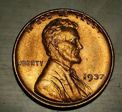 1937 RD #1 Lincoln Wheat Cent Penny Coin EXCELLENT BU condition  (see photos)