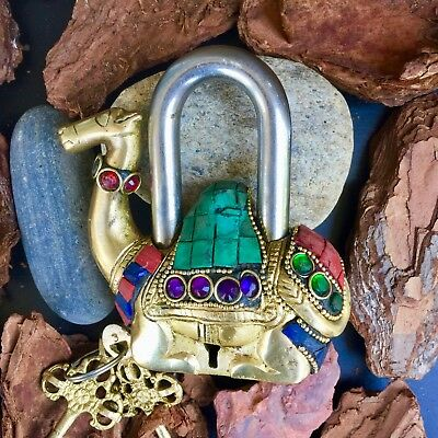 Camel Antique lock Vintage Brass Padlock working love lock skeleton key Rustic